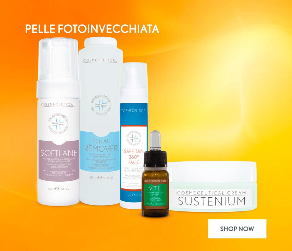 cosmetici per pelle con inestetismi dovuti all'esposizione solare